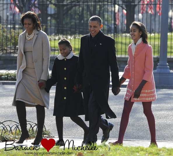 obama family walking to st johns church