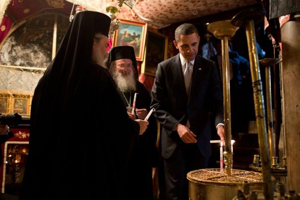 obama visits crypt of jesus