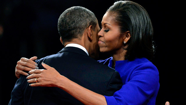 Barack Obama hugs wife Michelle