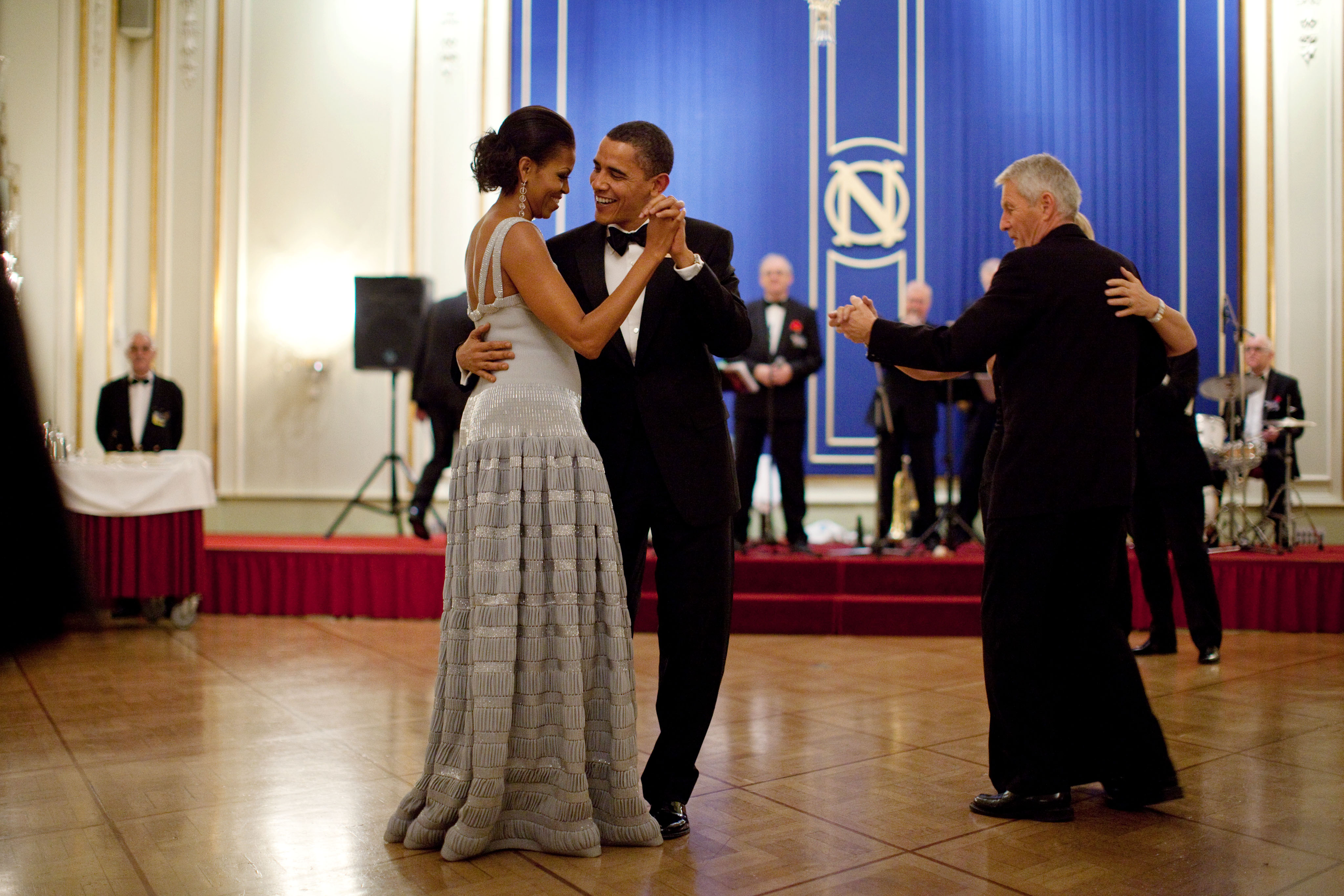 President Barack Obama and First Lady Michelle Obama Dance during the Nobel Banquet
