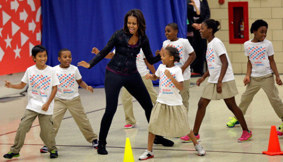 Michelle Obama And Star Athletes Visit Washington DC Elementary School