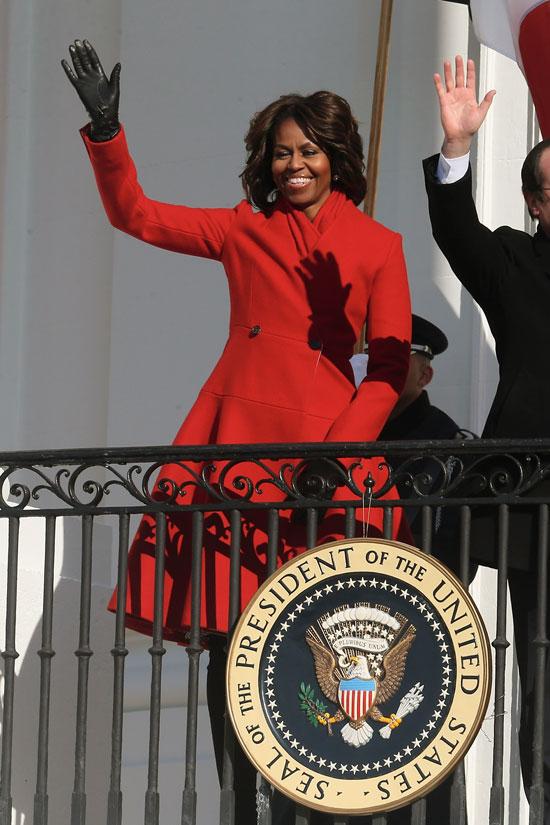 michelle obama red coat thom browne